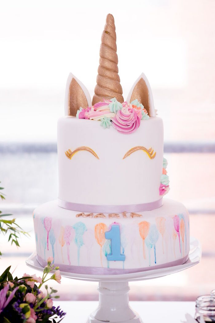 Unicorn Cake from a Floral Unicorn Birthday Party on Kara's Party Ideas | KarasPartyIdeas.com (33)