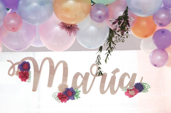 Name sign from a Floral Unicorn Birthday Party on Kara's Party Ideas | KarasPartyIdeas.com (11)