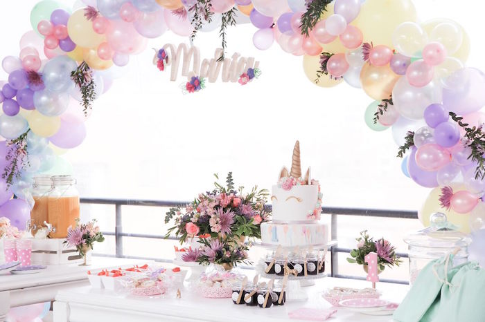 Unicorn dessert table from a Floral Unicorn Birthday Party on Kara's Party Ideas | KarasPartyIdeas.com (10)