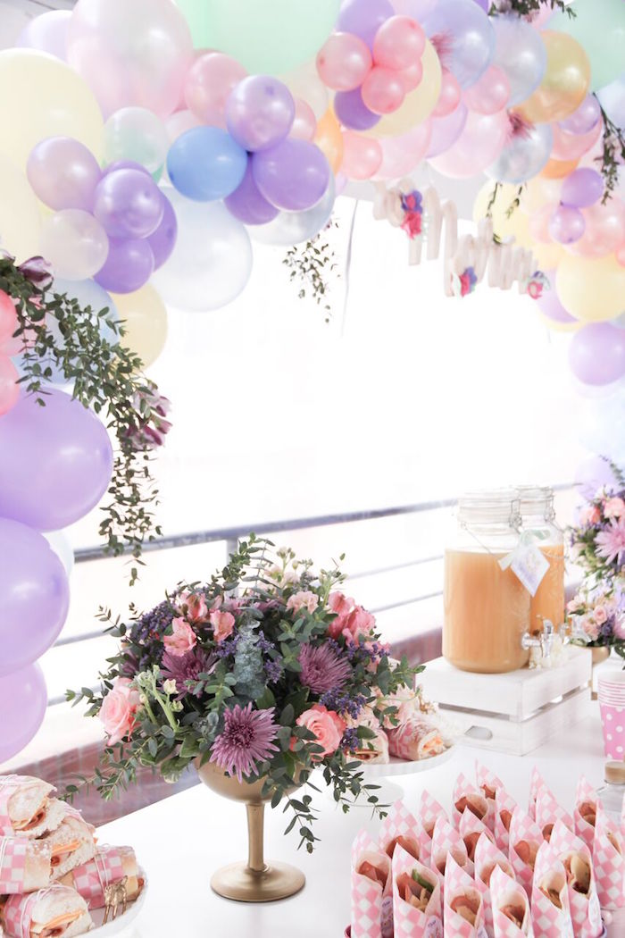 Balloon arch from a Floral Unicorn Birthday Party on Kara's Party Ideas | KarasPartyIdeas.com (9)