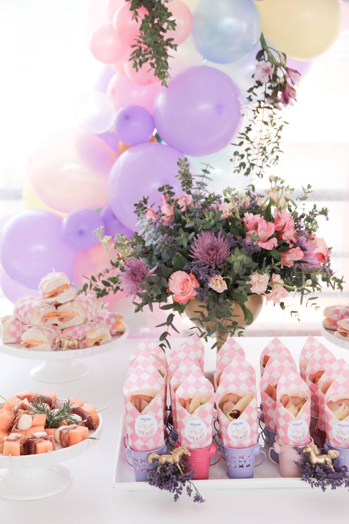 Food table from a Floral Unicorn Birthday Party on Kara's Party Ideas | KarasPartyIdeas.com (8)