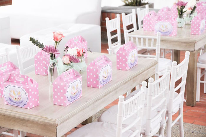 Guest table from a Floral Unicorn Birthday Party on Kara's Party Ideas | KarasPartyIdeas.com (6)