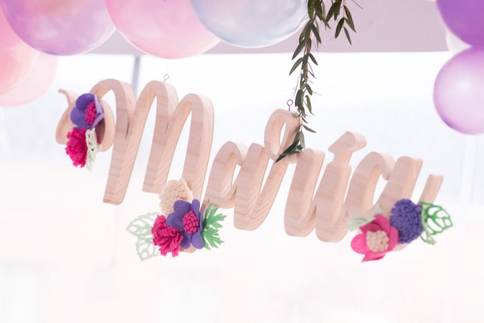 Custom name sign from a Floral Unicorn Birthday Party on Kara's Party Ideas | KarasPartyIdeas.com (26)
