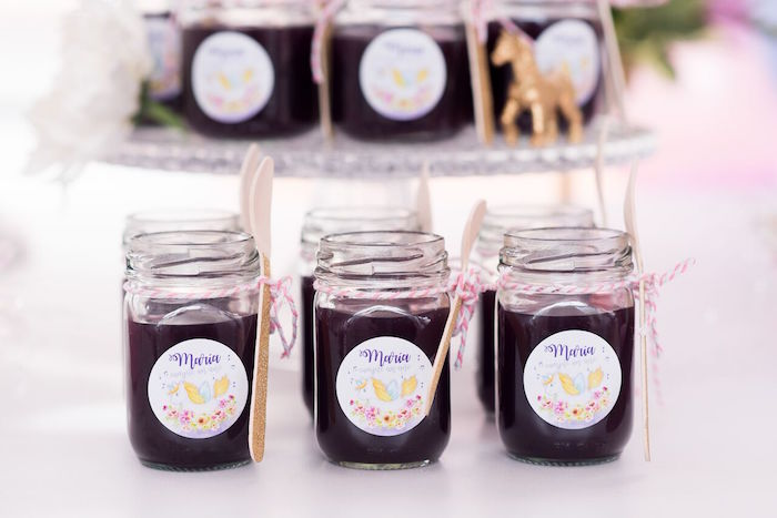 Jelly jars from a Floral Unicorn Birthday Party on Kara's Party Ideas | KarasPartyIdeas.com (25)