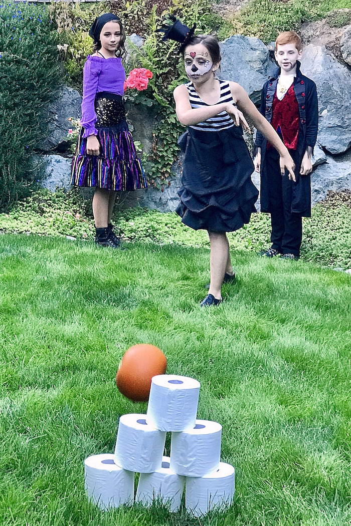 Ghost roll bowling from a Wickedly Sweet Halloween Costume Party on Kara's Party Ideas | KarasPartyIdeas.com (30)