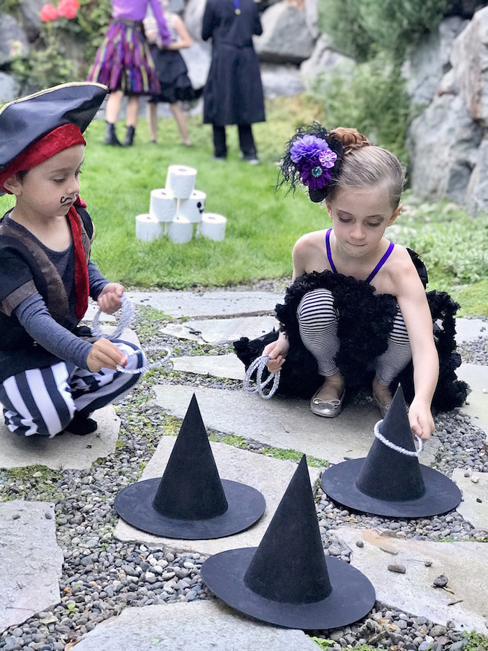 Witch hat ring toss from a Wickedly Sweet Halloween Costume Party on Kara's Party Ideas | KarasPartyIdeas.com (29)
