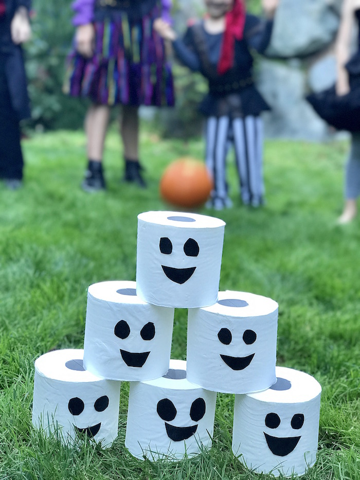Ghost roll bowling from a Wickedly Sweet Halloween Costume Party on Kara's Party Ideas | KarasPartyIdeas.com (28)
