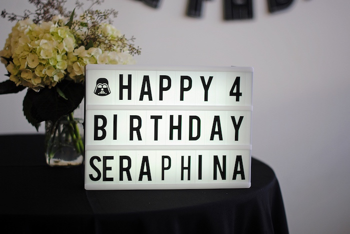 Light box sign from a Galactic Star Wars Birthday Party on Kara's Party Ideas | KarasPartyIdeas.com (19)