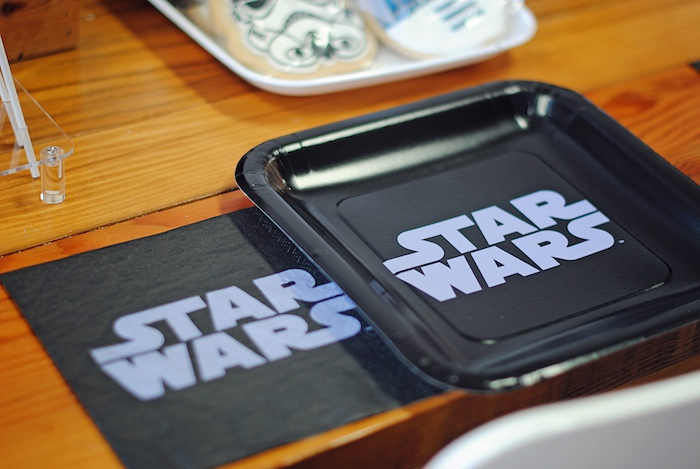 Star Wars plates and napkins from a Galactic Star Wars Birthday Party on Kara's Party Ideas | KarasPartyIdeas.com (18)