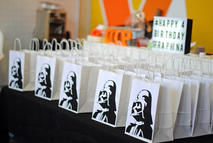 Darth Vader Gift Bags From A Galactic Star Wars Birthday Party On Karas Ideas
