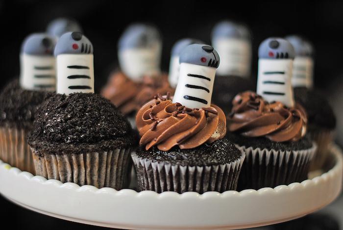 R2D2 cupcakes from a Galactic Star Wars Birthday Party on Kara's Party Ideas | KarasPartyIdeas.com (33)