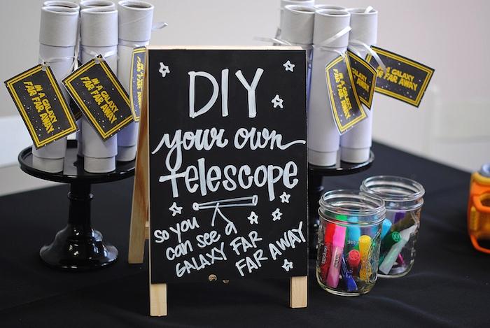 DIY telescope activity from a Galactic Star Wars Birthday Party on Kara's Party Ideas | KarasPartyIdeas.com (8)