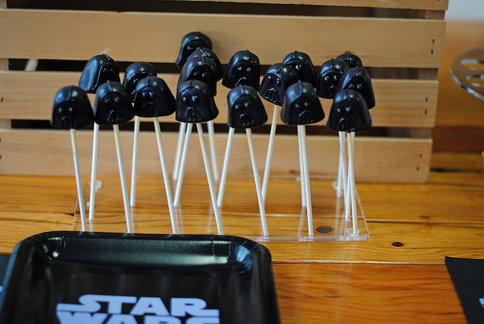 Darth Vader cake pops from a Galactic Star Wars Birthday Party on Kara's Party Ideas | KarasPartyIdeas.com (31)