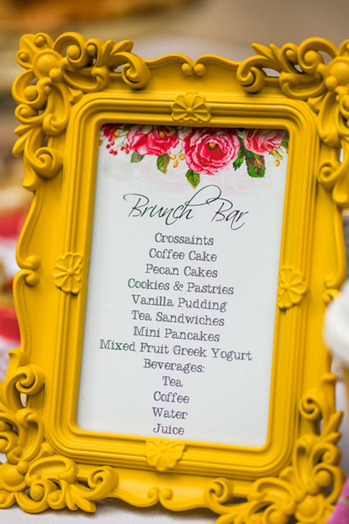 Signage + brunch bar menu from a Garden Tea Birthday Party on Kara's Party Ideas | KarasPartyIdeas.com (15)