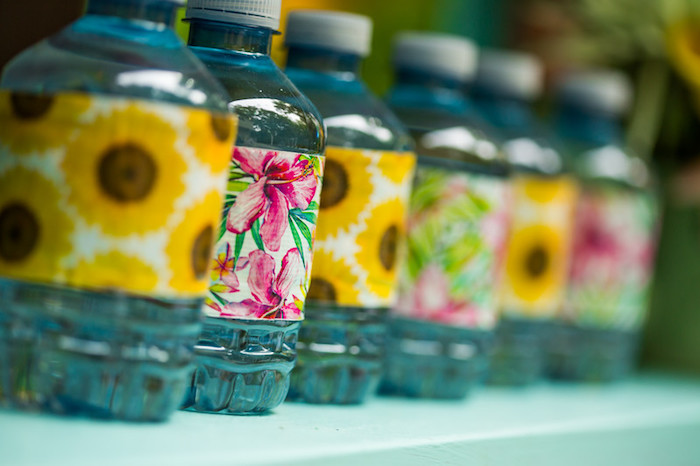 Drink bottles with floral labels from a Garden Tea Birthday Party on Kara's Party Ideas | KarasPartyIdeas.com (11)