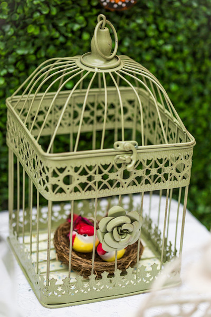 Bird cage from a Garden Tea Birthday Party on Kara's Party Ideas | KarasPartyIdeas.com (10)