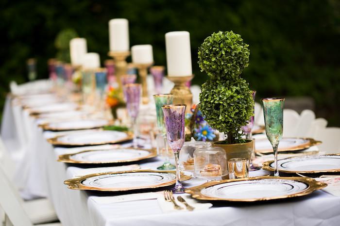 Guest table form a Garden Tea Birthday Party on Kara's Party Ideas | KarasPartyIdeas.com (25)