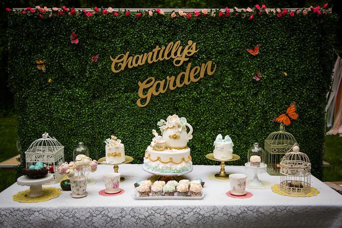 Dessert table from a Garden Tea Birthday Party on Kara's Party Ideas   KarasPartyIdeas.com (6)