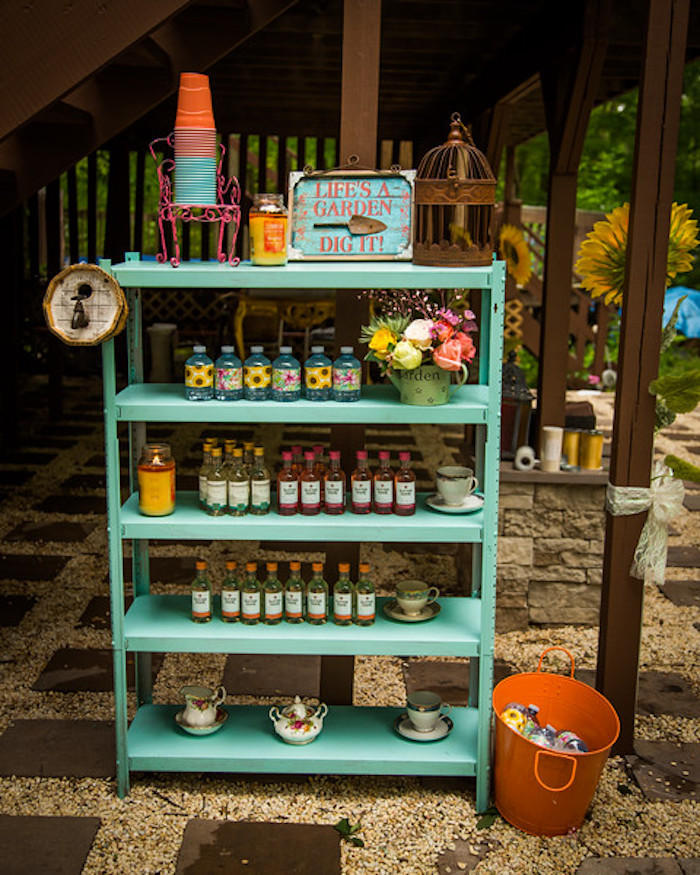 Beverage display from a Garden Tea Birthday Party on Kara's Party Ideas | KarasPartyIdeas.com (5)