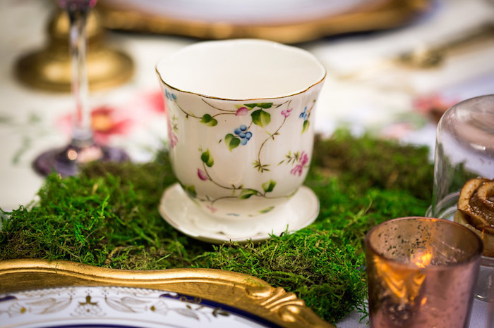 Tea cup and moss from a Garden Tea Birthday Party on Kara's Party Ideas | KarasPartyIdeas.com (22)