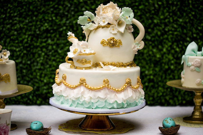 Tea Kettle Cake from a Garden Tea Birthday Party on Kara's Party Ideas | KarasPartyIdeas.com (20)