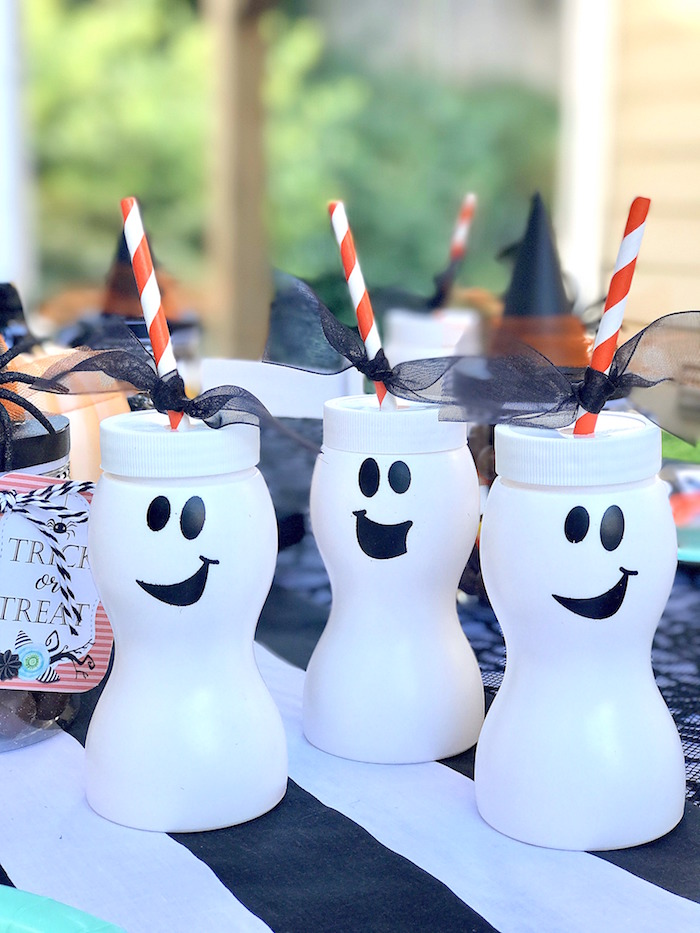 Ghost cups from a Wickedly Sweet Halloween Costume Party on Kara's Party Ideas | KarasPartyIdeas.com (25)