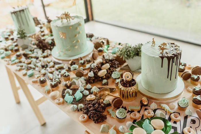 Sweet table from a Glam Rustic Dinosaur Birthday Party on Kara's Party Ideas | KarasPartyIdeas.com (14)