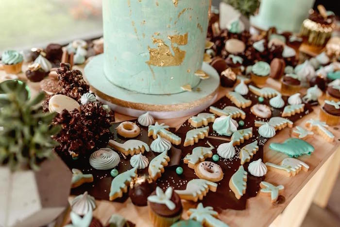 Cookies and sweets from a Glam Rustic Dinosaur Birthday Party on Kara's Party Ideas | KarasPartyIdeas.com (13)