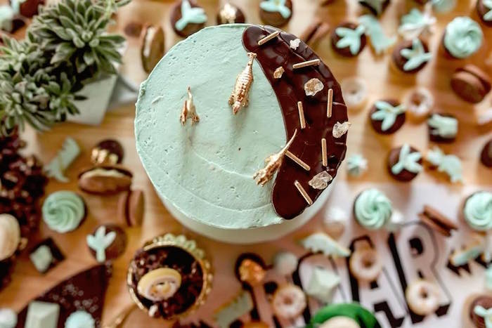 Dinosaur cake top from a Glam Rustic Dinosaur Birthday Party on Kara's Party Ideas | KarasPartyIdeas.com (8)