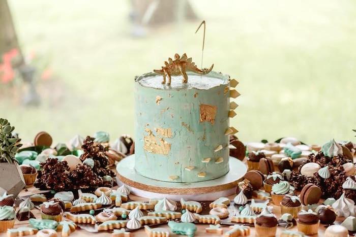 Stegosaurus Cake from a Glam Rustic Dinosaur Birthday Party on Kara's Party Ideas | KarasPartyIdeas.com (6)