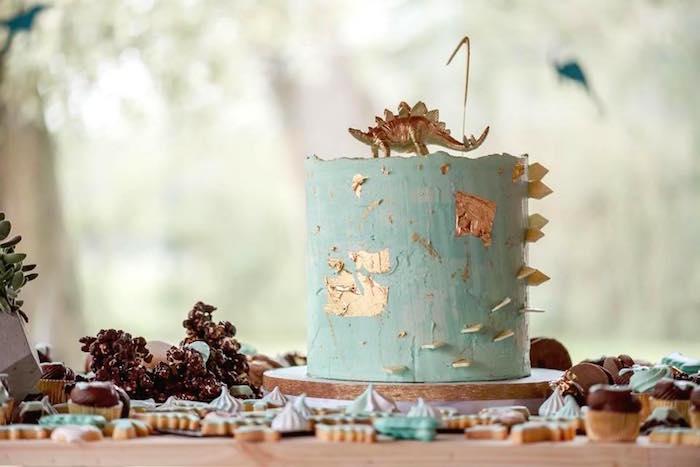 Cake from a Glam Rustic Dinosaur Birthday Party on Kara's Party Ideas | KarasPartyIdeas.com (3)