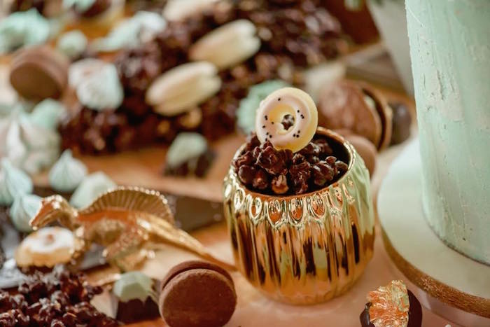 Dessert cup from a Glam Rustic Dinosaur Birthday Party on Kara's Party Ideas | KarasPartyIdeas.com (2)