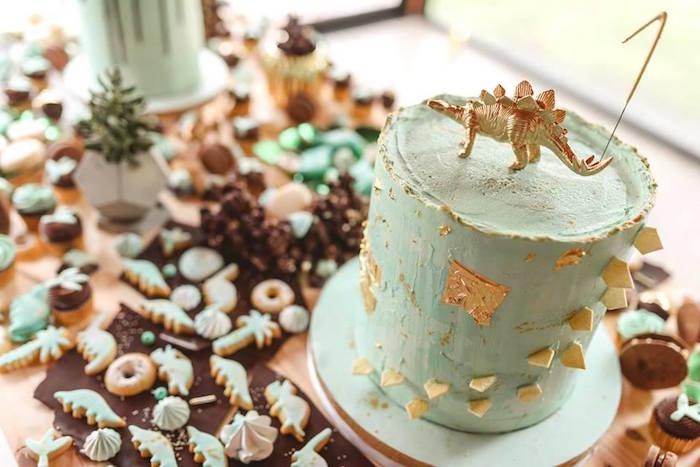 Stegosaurus Cake from a Glam Rustic Dinosaur Birthday Party on Kara's Party Ideas | KarasPartyIdeas.com (22)