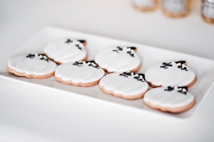 Pumpkin shaped cookies from a Halloween Haunted Garden on Kara's Party Ideas | KarasPartyIdeas.com (36)