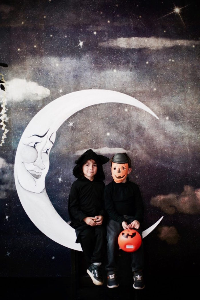 Moon photo booth from a Halloween Haunted Garden on Kara's Party Ideas | KarasPartyIdeas.com (32)