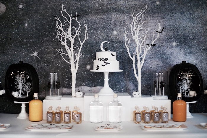 Moonlit dessert table from a Halloween Haunted Garden on Kara's Party Ideas | KarasPartyIdeas.com (31)