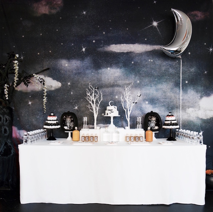 Moon-lit sweet table from a Halloween Haunted Garden on Kara's Party Ideas | KarasPartyIdeas.com (49)