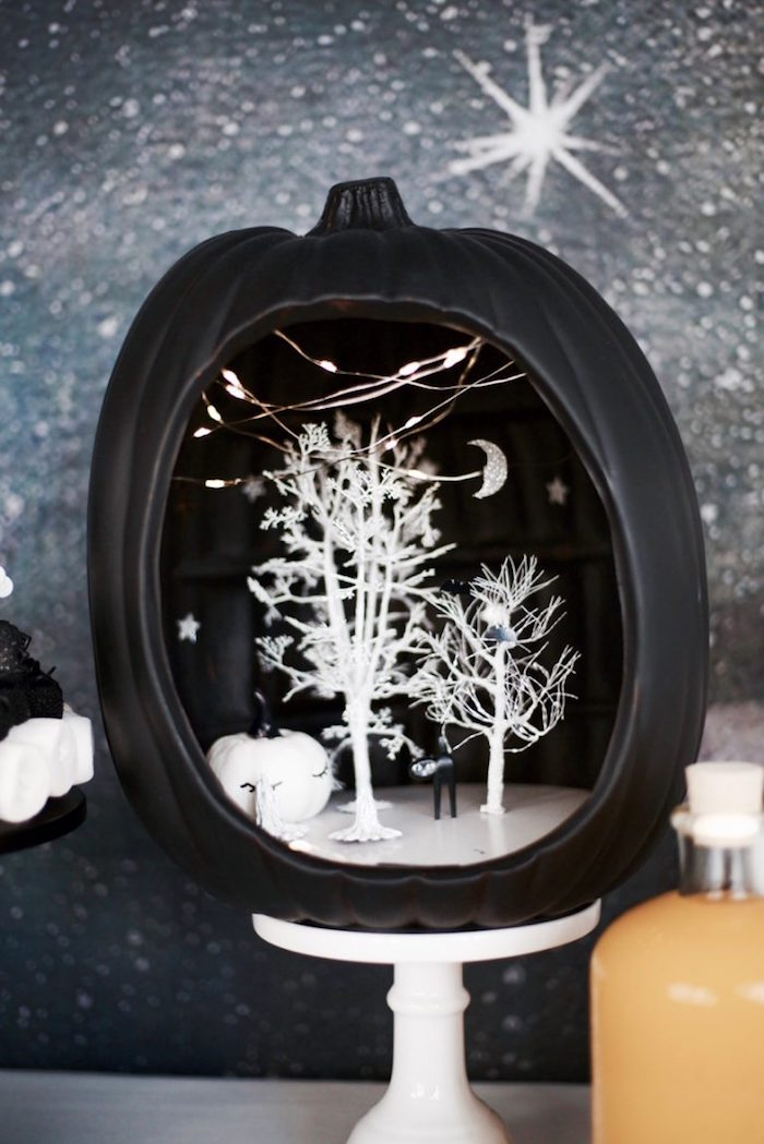 Black pumpkin centerpiece from a Halloween Haunted Garden on Kara's Party Ideas | KarasPartyIdeas.com (30)
