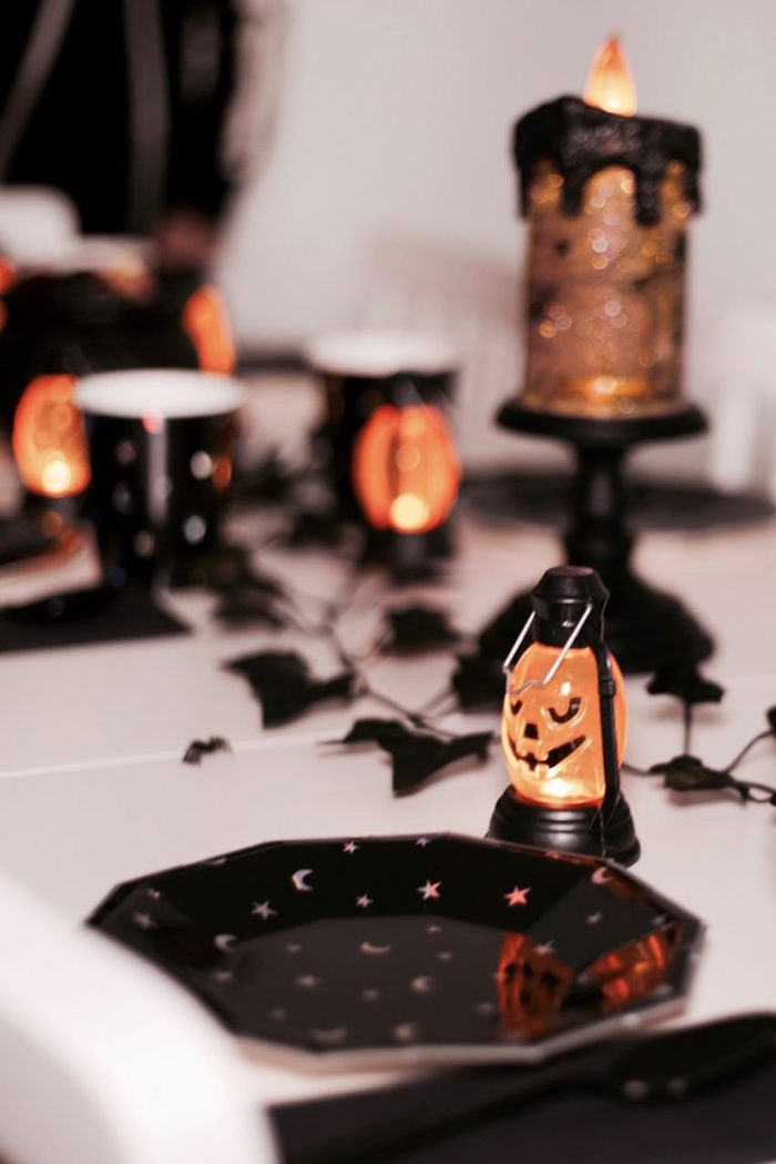 Lantern- lit place setting from a Halloween Haunted Garden on Kara's Party Ideas | KarasPartyIdeas.com (5)
