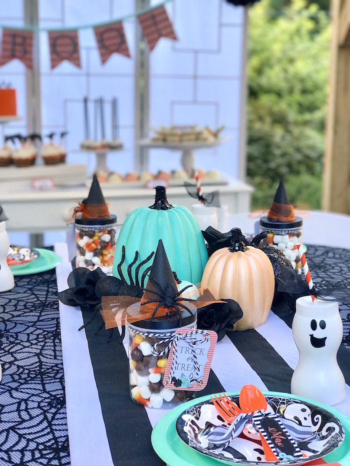 Halloween guest table from a Wickedly Sweet Halloween Costume Party on Kara's Party Ideas | KarasPartyIdeas.com (17)