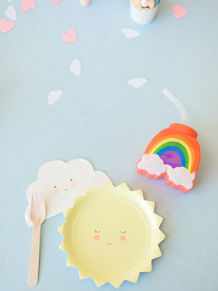Place setting + partyware from a Happy Clouds & Sunshine Birthday Party on Kara's Party Ideas | KarasPartyIdeas.com (23)