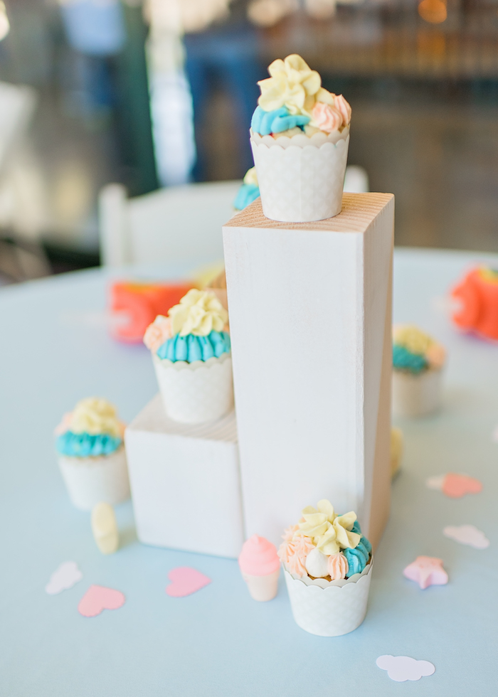Wood pedestal centerpiece from a Happy Clouds & Sunshine Birthday Party on Kara's Party Ideas | KarasPartyIdeas.com (22)