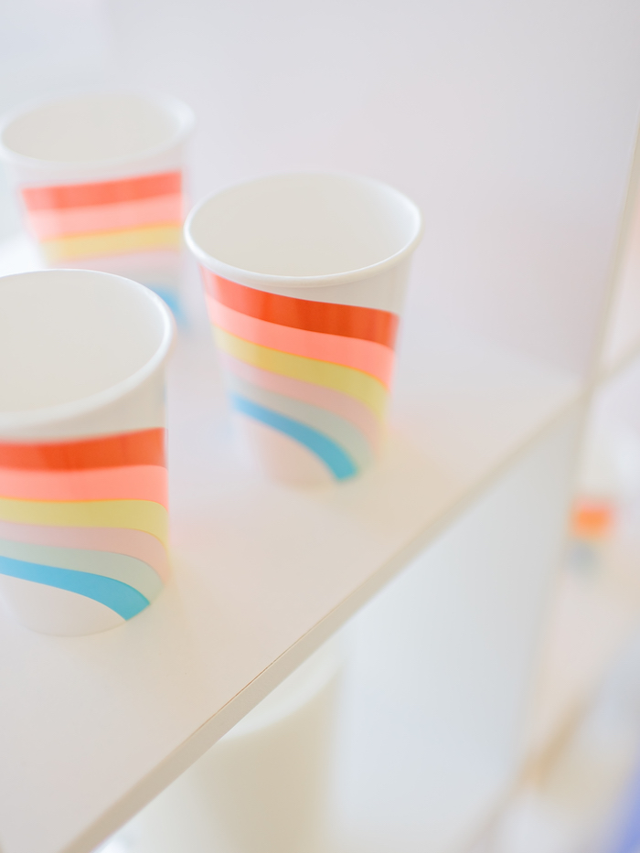 Rainbow cups from a Happy Clouds & Sunshine Birthday Party on Kara's Party Ideas | KarasPartyIdeas.com (20)