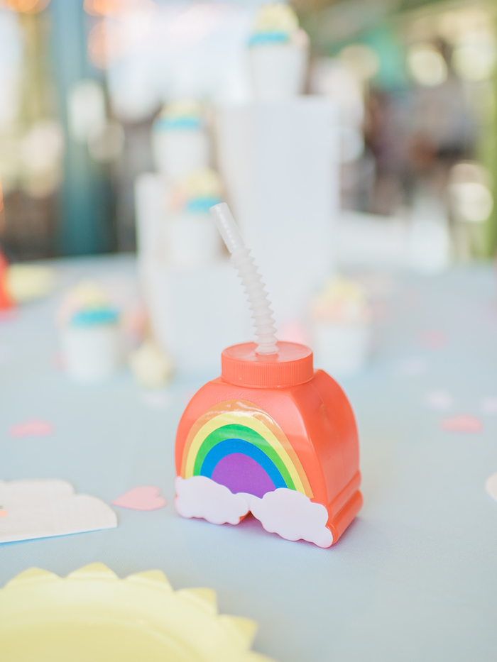 Rainbow cup from a Happy Clouds & Sunshine Birthday Party on Kara's Party Ideas | KarasPartyIdeas.com (11)