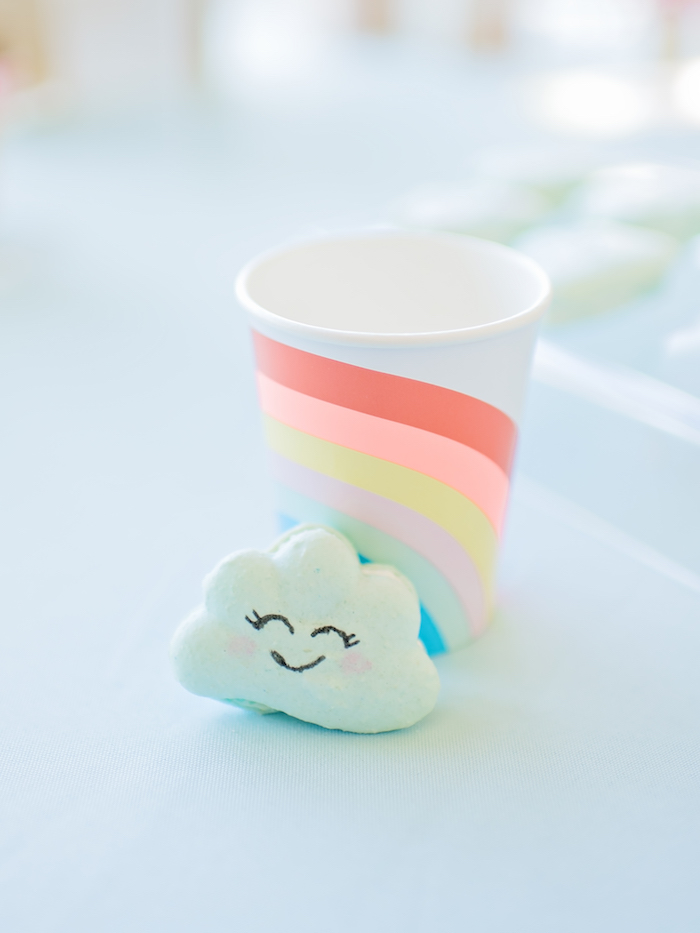 Cloud macaron and rainbow cup from a Happy Clouds & Sunshine Birthday Party on Kara's Party Ideas | KarasPartyIdeas.com (6)