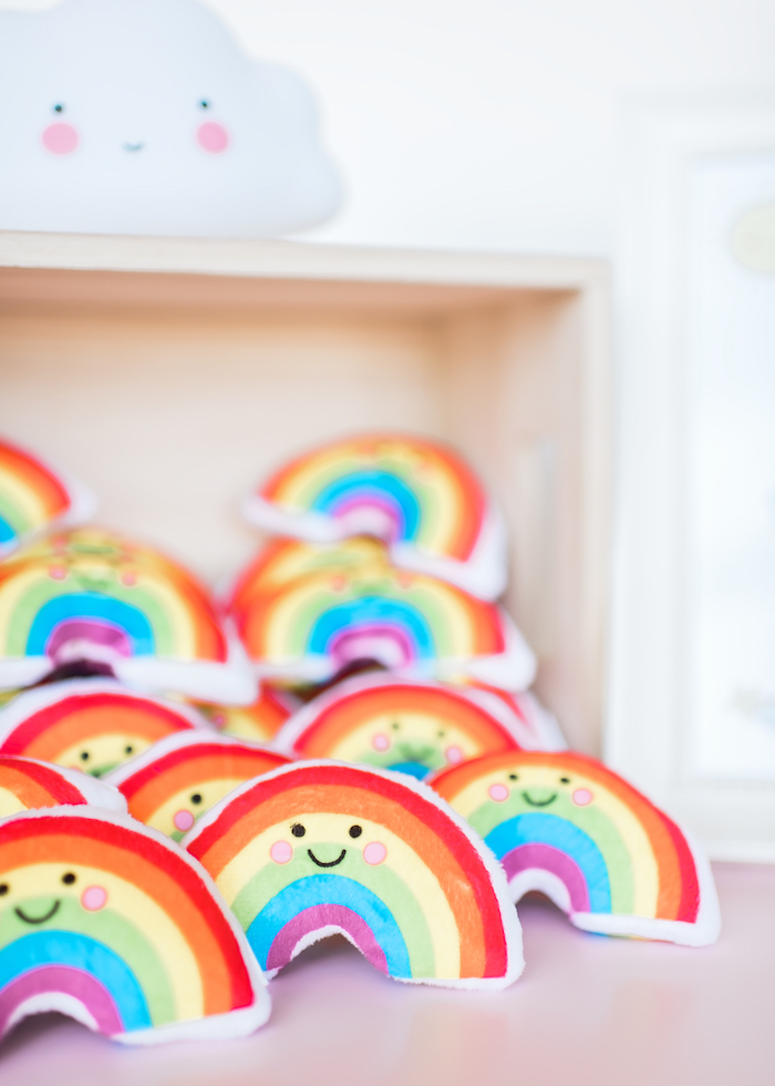 Rainbow pouch favors from a Happy Clouds & Sunshine Birthday Party on Kara's Party Ideas | KarasPartyIdeas.com (35)