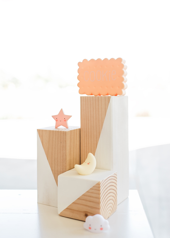 Wood pedestal centerpiece from a Happy Clouds & Sunshine Birthday Party on Kara's Party Ideas | KarasPartyIdeas.com (33)