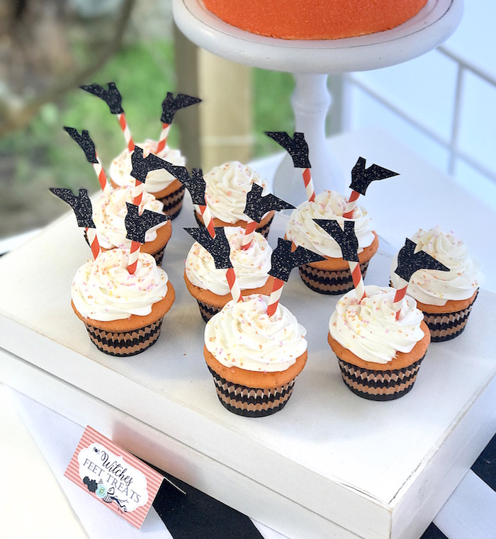 Witch feet cupcakes from a Wickedly Sweet Halloween Costume Party on Kara's Party Ideas | KarasPartyIdeas.com (11)