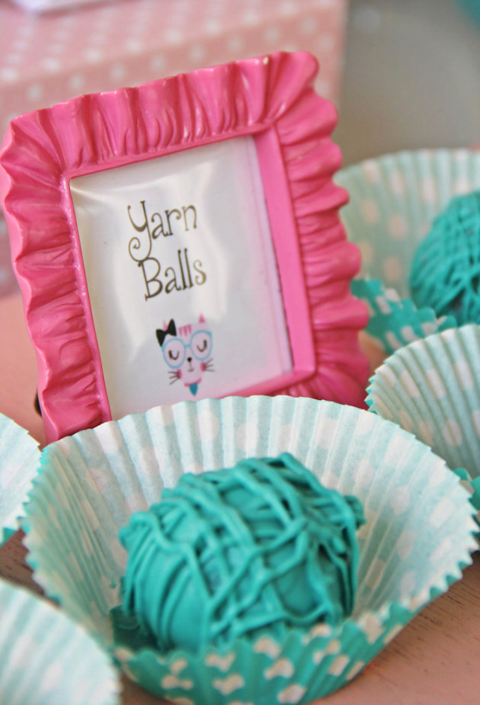 Yarn Ball cake pops from a Kitten Adoption Party on Kara's Party Ideas   KarasPartyIdeas.com (14)