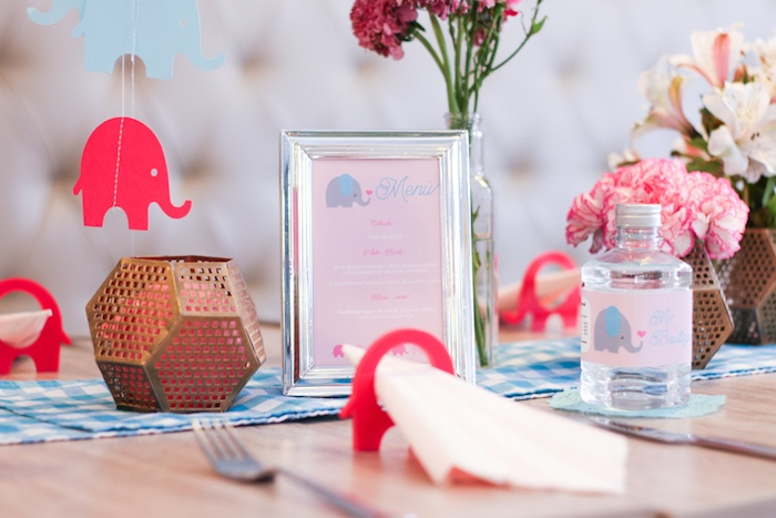 Guest table decor from a Little Elephant Baptism Celebration on Kara's Party Ideas | KarasPartyIdeas.com (10)